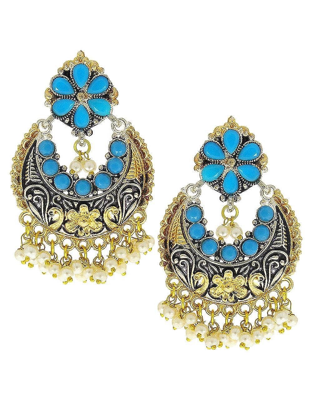 Anuradha Art Blue Colour Very Pretty Chandbali Styled Designer Oxidised Earrings For Women//Girls