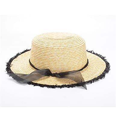 Dedesty Women Boater Hat Straw Hats with Black Ribbon Female Beach Sun Hat  White e3505dc28cc