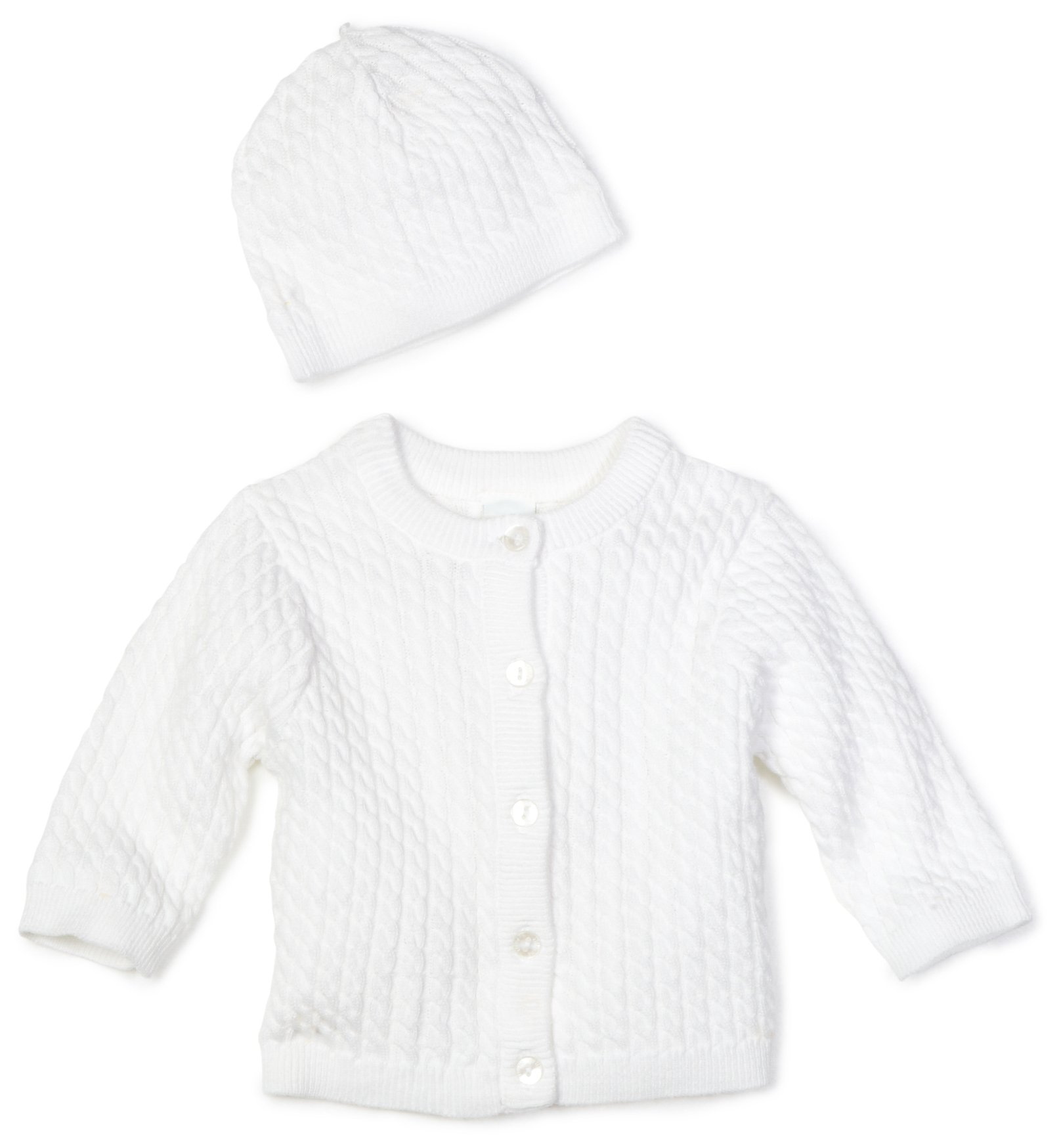 Little Me Unisex-baby Newborn Lovable Cable Sweater, White, 3 Months by Little Me