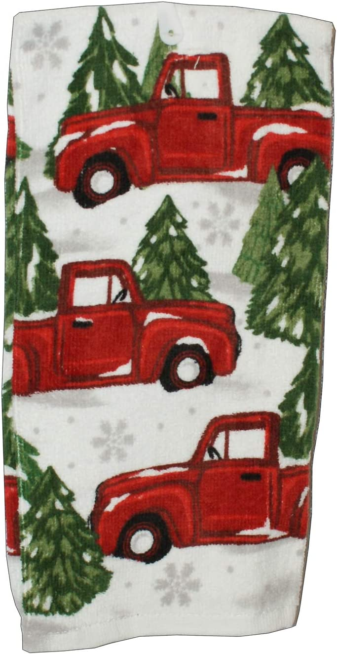 Connie N Randy Robert Stanley Home Collection Vintage Red Truck in The Snow Kitchen Towel
