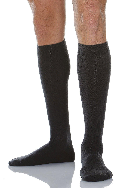Alpha Medical 20-30 mmHg Moderate Compression Men's Compression Travel Socks. Fine Cotton Italian Made Quality (Size 5 Black)
