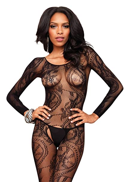 d66896531d Amazon.com  Leg Avenue Swirl Lace Long Sleeved Bodystocking  Clothing