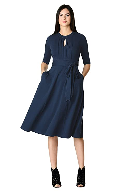1940s Dresses | 40s Dress, Swing Dress eShakti Womens Tux Pleat Front Cotton Knit Dress $64.95 AT vintagedancer.com