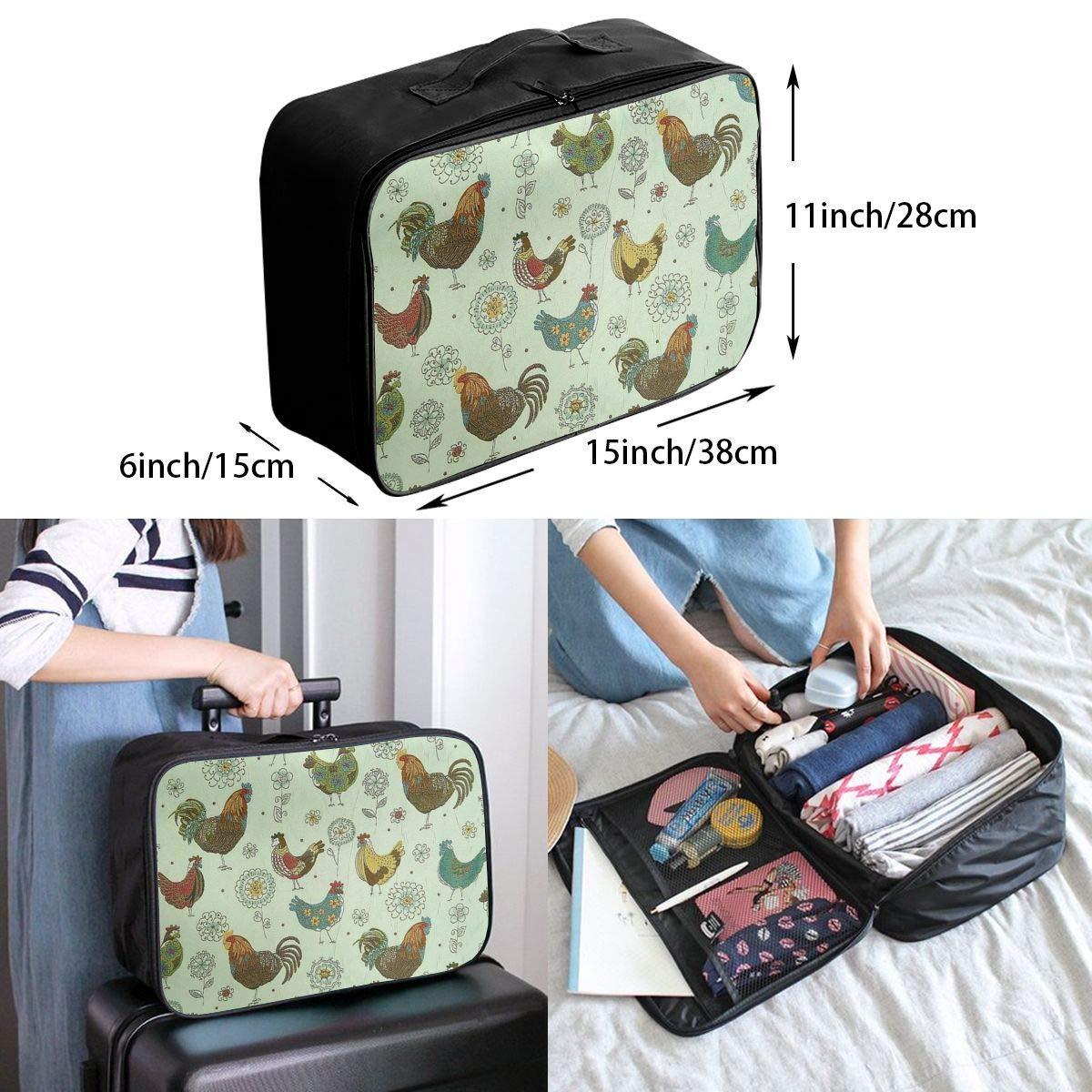 Travel Luggage Duffle Bag Lightweight Portable Handbag Chicken Painting Large Capacity Waterproof Foldable Storage Tote