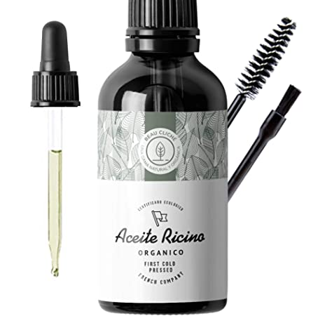 100ml Aceite de ricino orgánico, prensado en frío, puro - Estimula y fortalece el crecimiento del cabello, barba, pestañas, cejas, uñas, cutículas y piel - Botella de vidrio, pincel y brocha: Amazon.es: