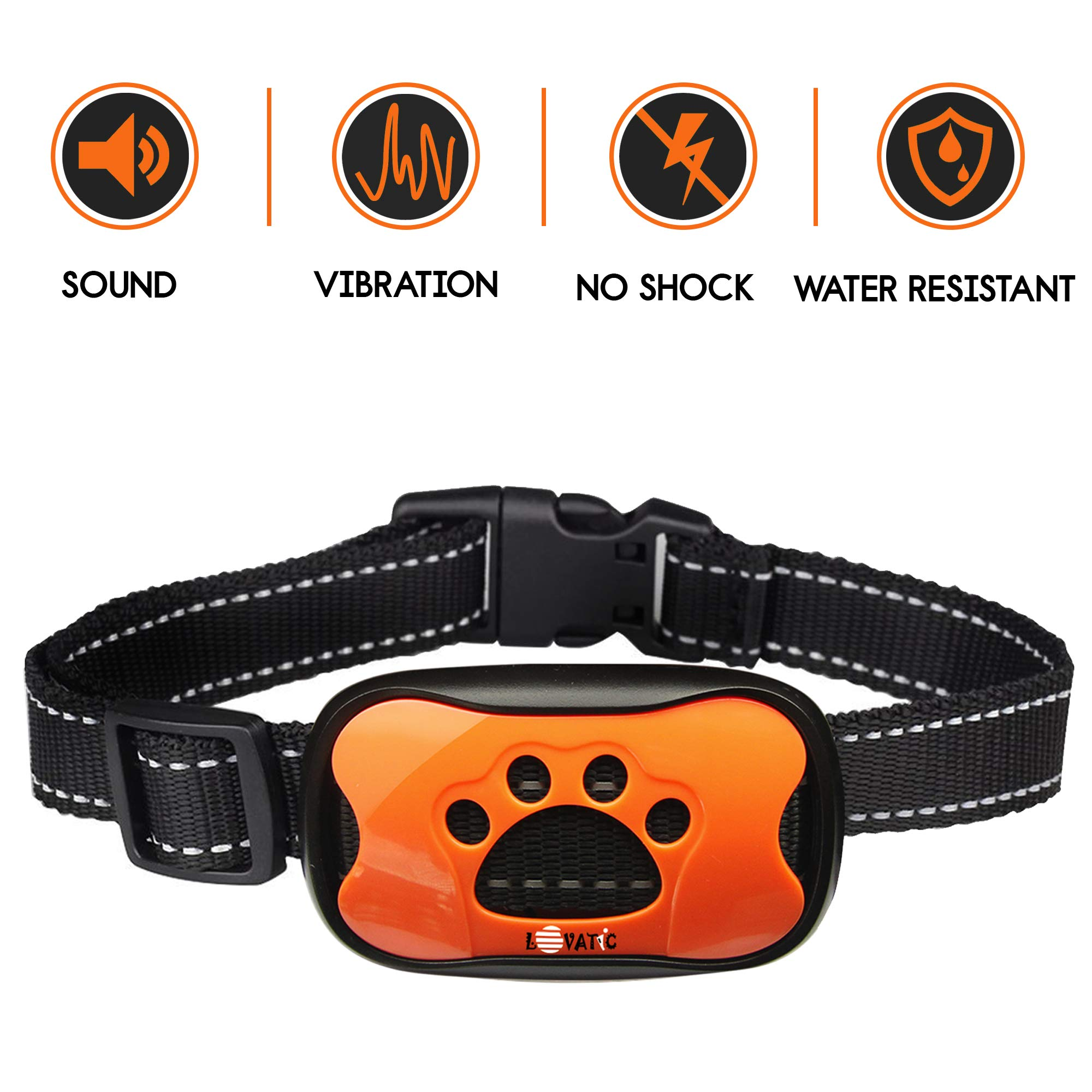 LOVATIC Dog Bark Collar - No Shock Vibration & Sound Humane Training Device for Small Medium Large Dogs - 7 Levels Sensitivity Adjustment - Best No Bark Control Collar