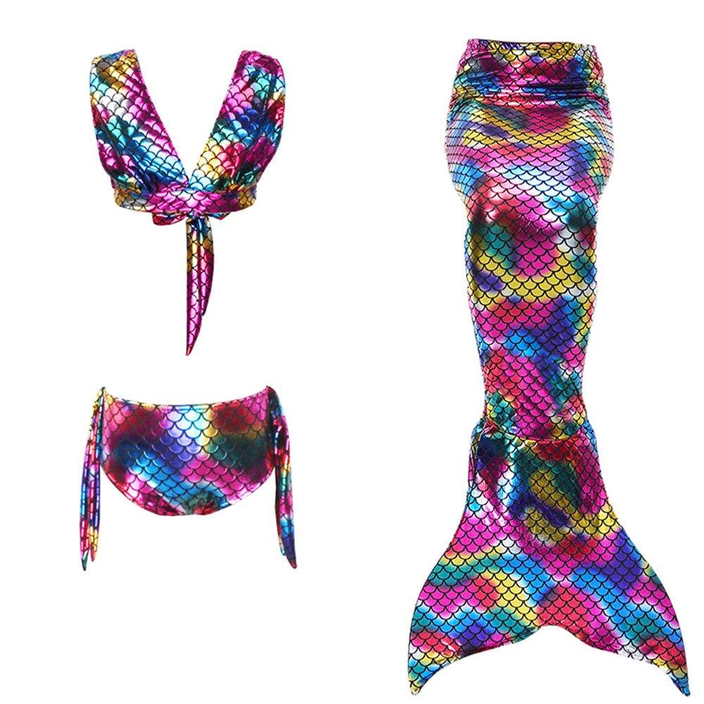 Disfraz de sirena Ni/ña Bikini Swimsuit Kids 3pcs Ropa de ba/ño Cosplay Disfraz