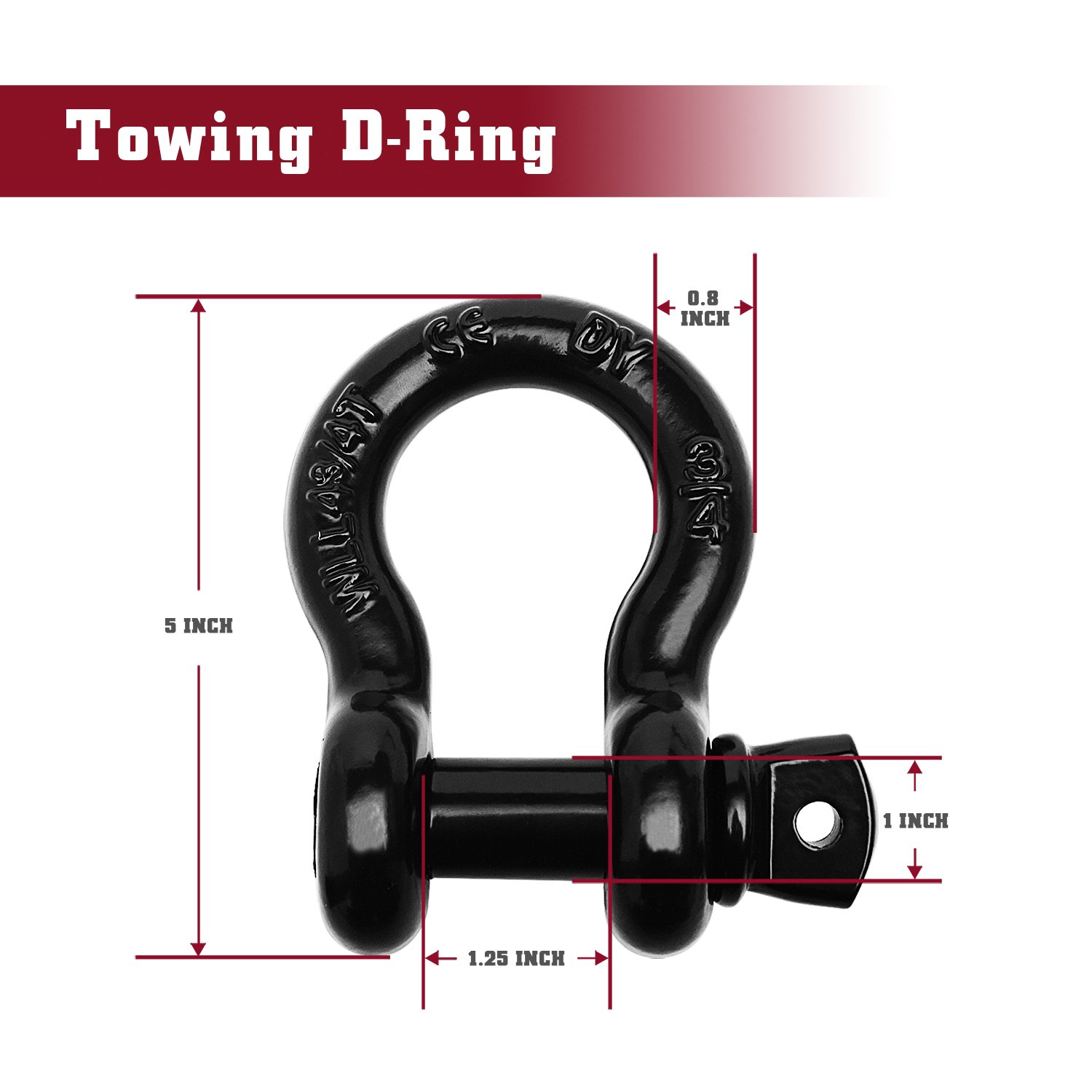 One Piece Snatch Strap for Winching TAC Shackles 3//4 D-Ring Rugged Off Road Heavy Duty with Isolator 4.75 Ton Ridging/&Recovery Silver Capacity for Jeep Vehicle Truck Towing 9,500 Lbs