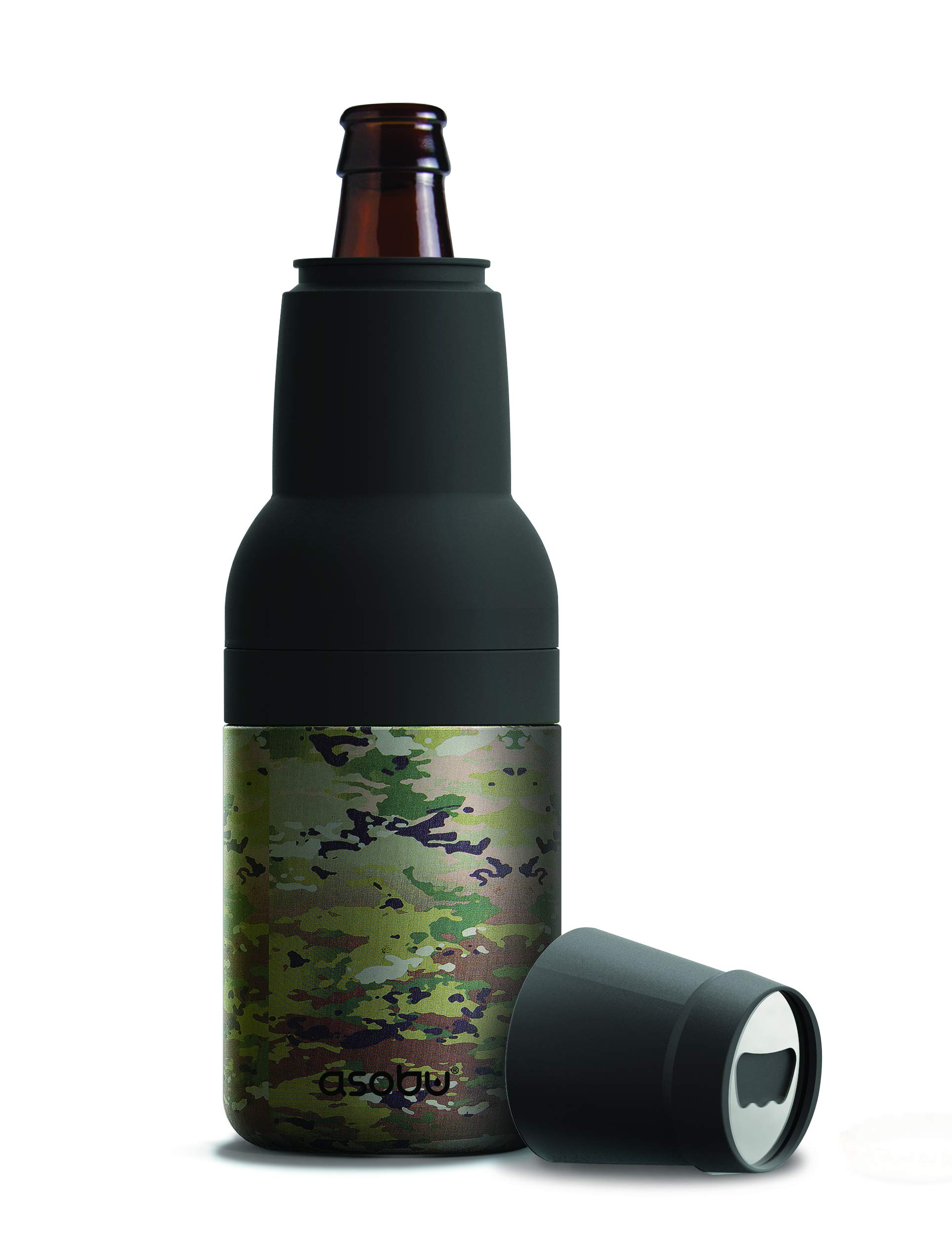 Asobu Frosty Beer 2 Go Vacuum Insulated Double Walled Stainless Steel Beer Bottle and Can Cooler with Beer Opener (Camouflage) by asobu (Image #1)