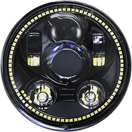 Wisamic 5.75 80W Motorrad Haupt Scheinwerfer Frontscheinwerfer Halo f/ür Harley Davidson Motorr/äder Schwarz mit Angel Eyes