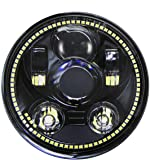 """Wisamic 5-3/4"""" 5.75"""" LED Projection Headlight for Harley-Davidson 883, Sportster, Triple, Low Rider, Wide Glide Motorcycles (Black with Halo)"""