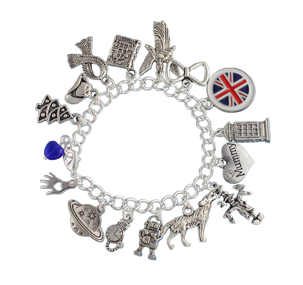 Night Owl Jewelry Time Lord Silver Plated Charm Bracelet: Police Box, Angel, Wolf, UK Flag, Bow Tie, Scarf- Medium (7.5 Inches)