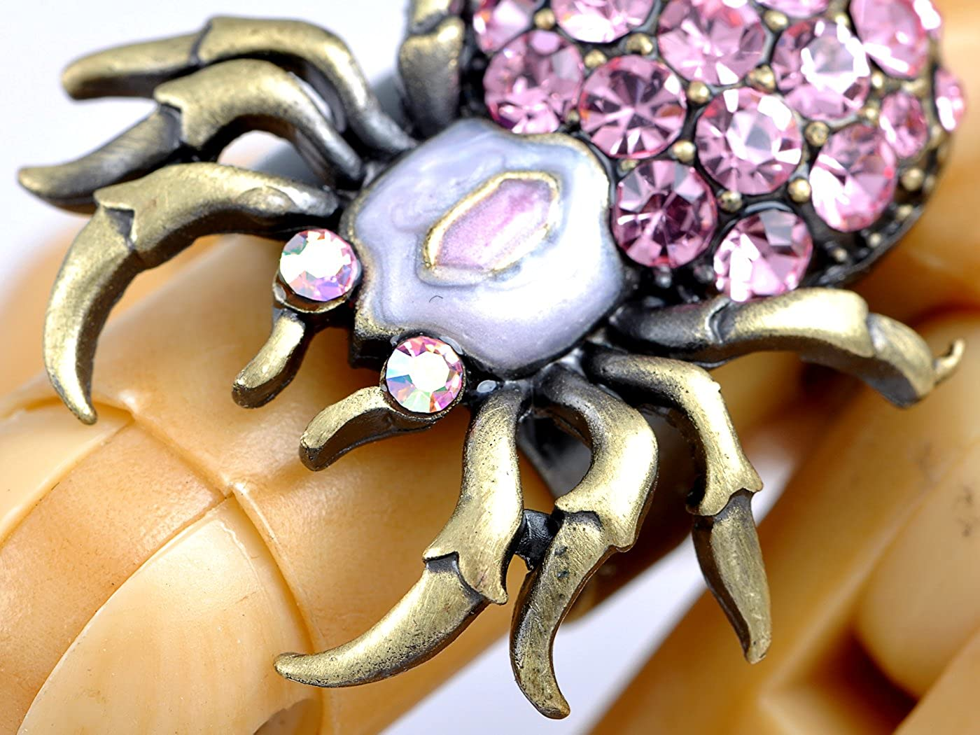 Rose Pink Crystal Rhinestone Body Spider Insect Bug Costume Design Jewelry Ring