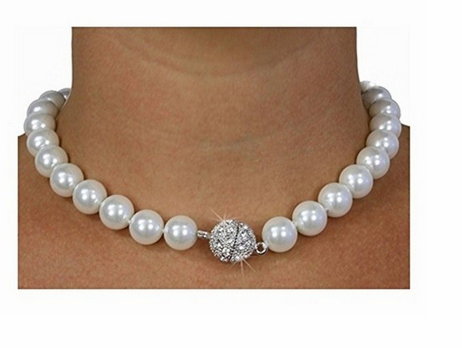 White Faux Pearl And Austrian Crystal Necklace & Earring Set by Lonestar Jewelry