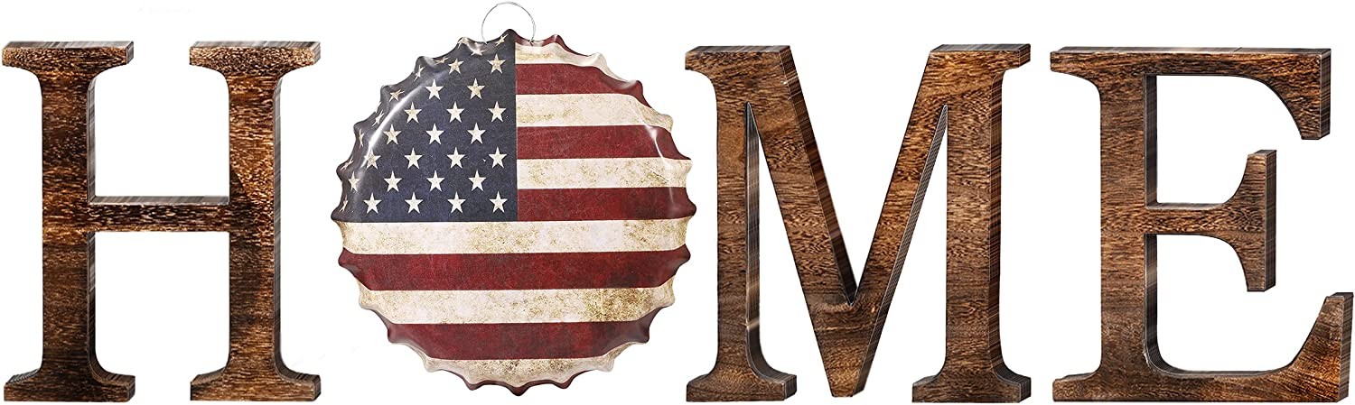 Home Letters Hanging Wall Decor - Wood Home Sign with American Flag Metal Decor Farmhouse Rustic Home Decor for Living Room Entryway Fireplace Decor, Housewarming Gift, Brown