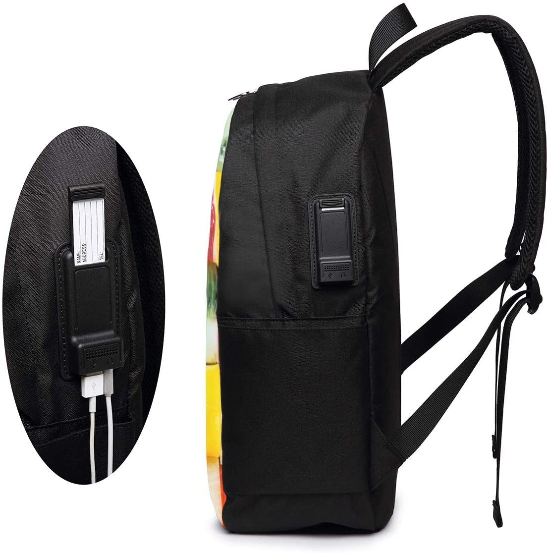 Tropical Fruits Laptop Backpack 17 Inch Business Travel Backpacks for Men Women Adjustable Shoulder Strap with USB Charging Port Black Mens and Womens for School