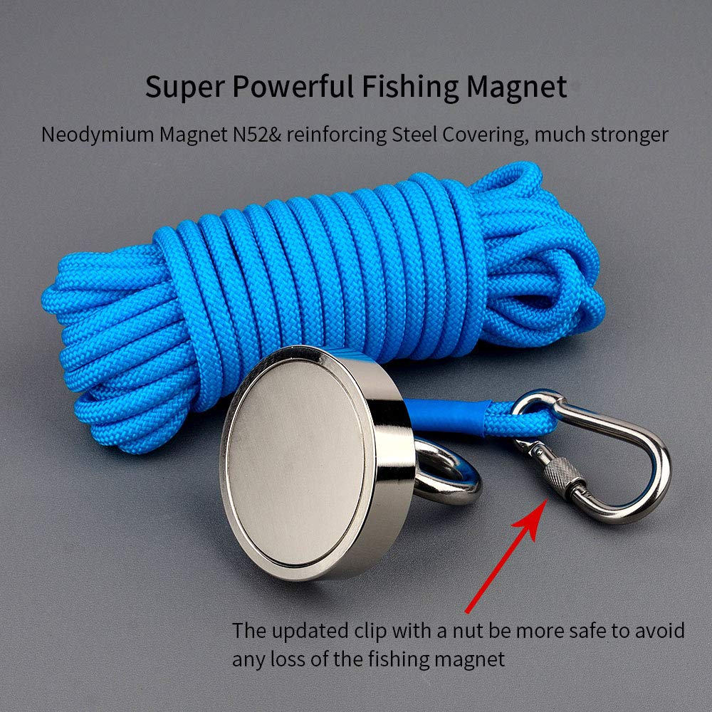66Foot Durable Rope,Powerful Magnets for Fishing and Magnetic Recovery Salvage MUTUACTOR Strong Fishing Magnets Combined 530lbs Pull Force,Double Side Retrieval Magnet N52 Neodymium Magnets with 20m