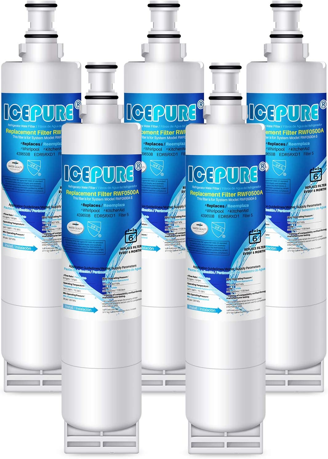 ICEPURE 4396508 Refrigerator Water Filter Replacement for Whirlpool EDR5RXD1, EveryDrop Filter 5, PUR W10186668, NLC240V, 4396510, 4396508P, 4392857, RWF0500A 5PACK