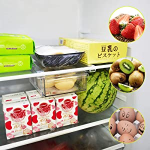 Fridge Drawer Organizer Refrigerator Storage Box - Refrigerator Organizer bins pull out, Small Size, Japandi Style, BPA Free, Ideal for Fridge Shelf Under 0.6""