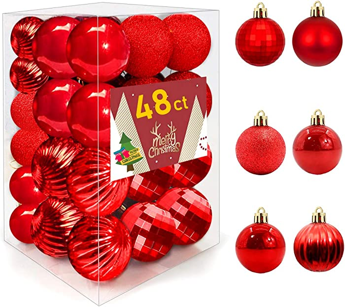 48ct Christmas Ball Ornaments, Shatterproof Christmas Decorations Tree Balls for Holiday Party Decoration, Tree Ornaments Hooks (Red)
