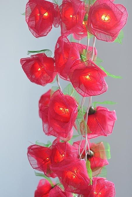 Red Rose Flower Lights For Bedroom And Wedding Ceremony Decorations Flower  Lights Indoor Patio String Lights