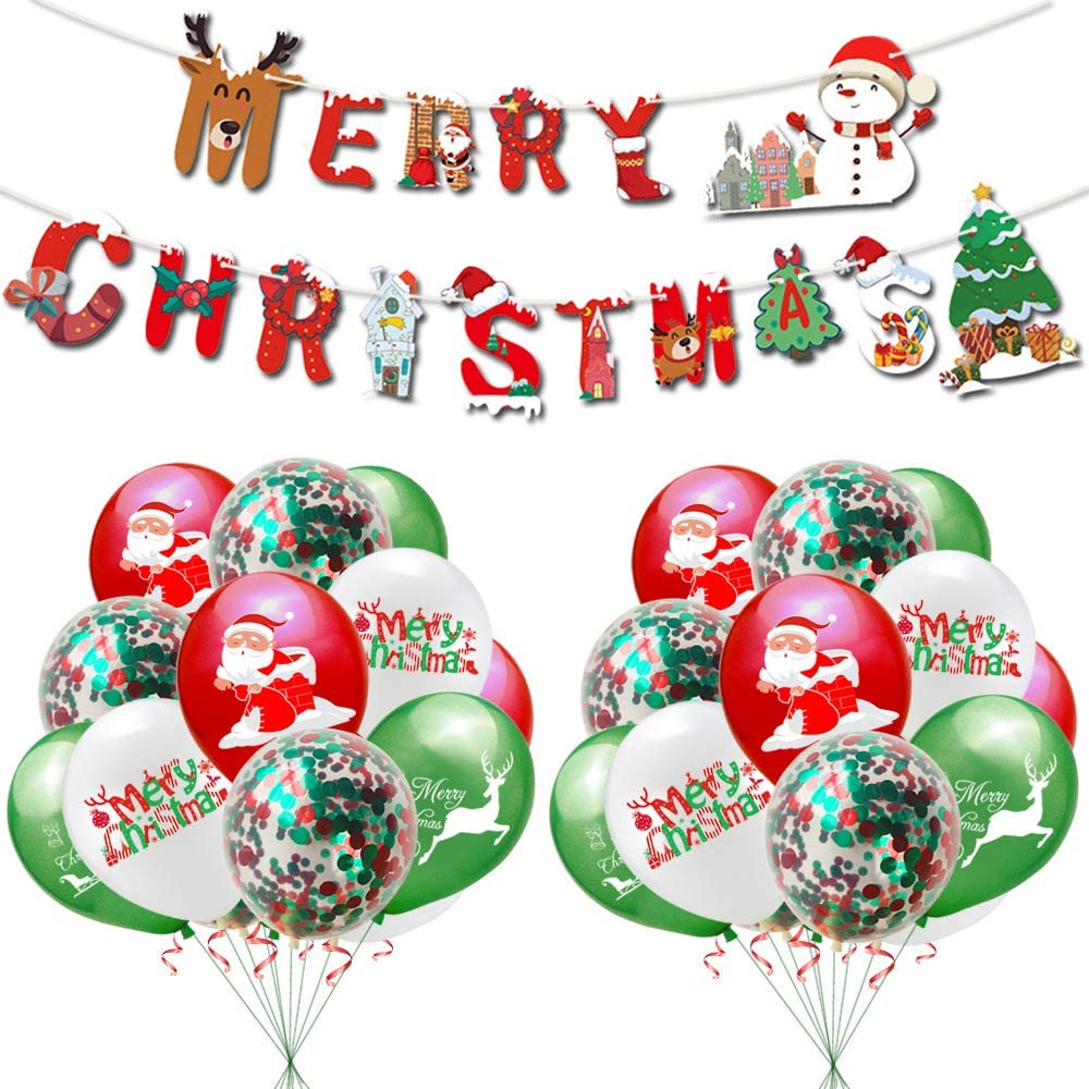 38 pcs Merry Christmas Banner kit Christmas Santa Claus Christmas Tree Reindeer Red Green Balloons Decoration Accessories for Christmas Fun Indoor Party Bar Home Decor Supplies