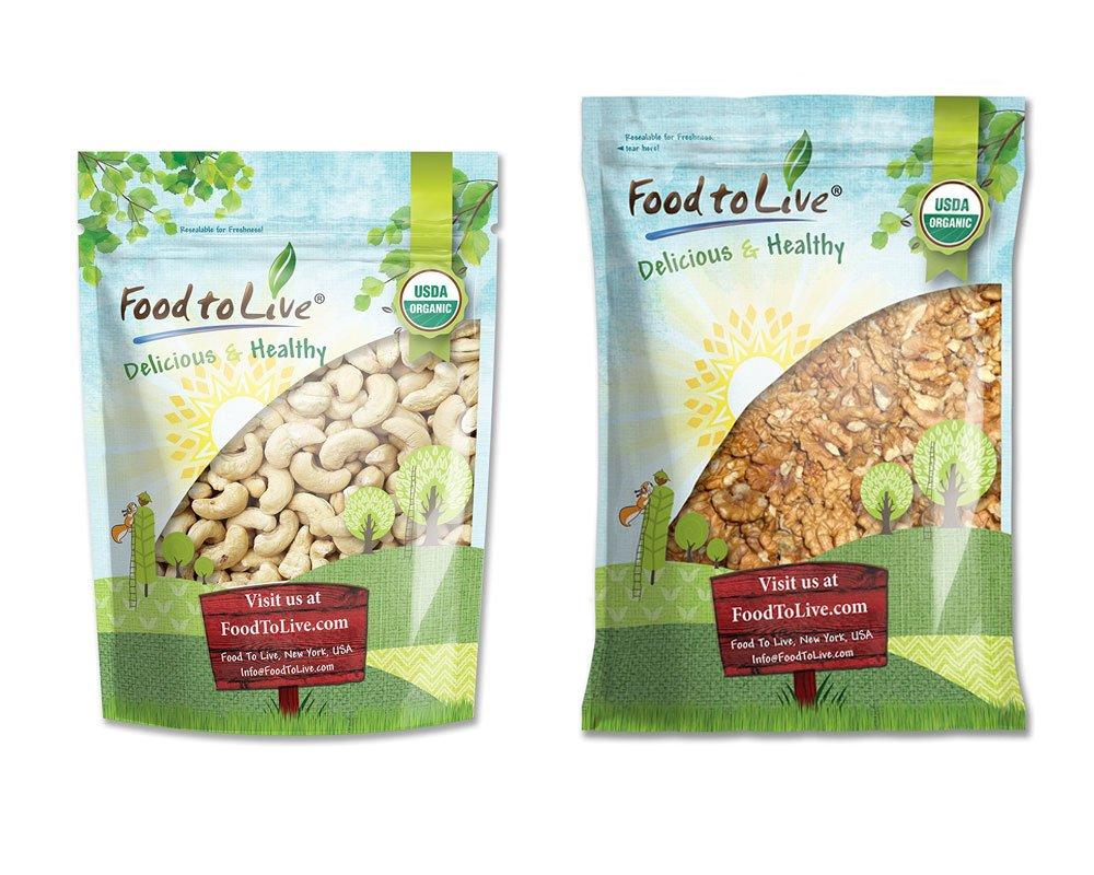 Organic Nuts Bundle with Organic Cashews W-240, 4 Pounds and Organic Walnuts, 5 Pounds — Whole, Raw