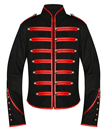 7403f398df Men s Unique Gothic Steampunk Red Black Parade Military Marching Band Drummer  Jacket Goth Punk Emo (