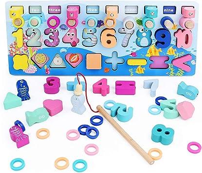 Anelli impilabili in Legno Giocattolo educativo in Legno per Imparare la Matematica contare e Imparare i Colori Legno Colorato Puzzle di Legno