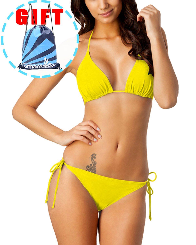 Garlagy Women's Two Piece Swimsuits Triangle Tie Side Bikini Sets Swimwear Halter Athletic Bathing Suits Top Bottom
