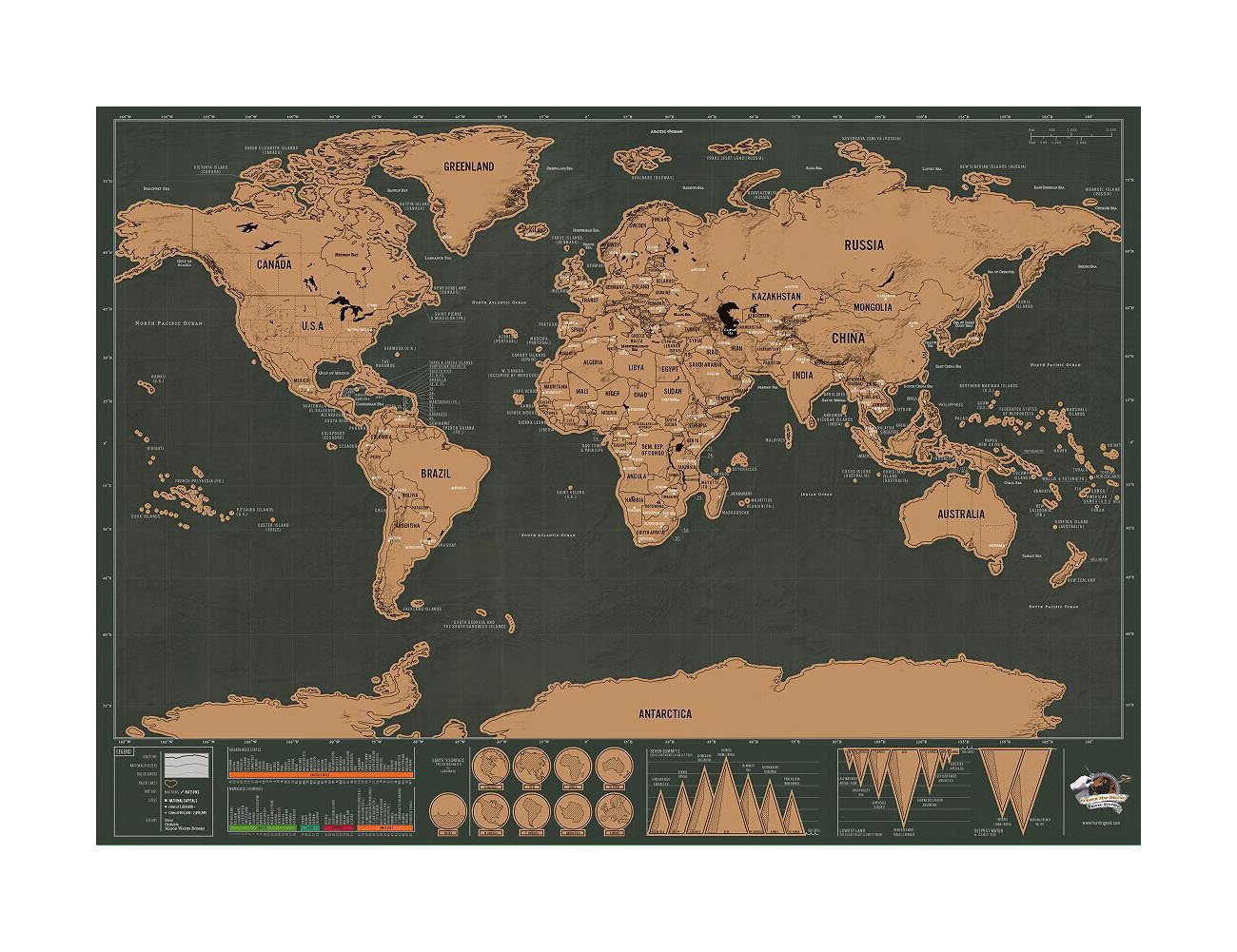 Scratch Off World Map Poster QIYIGE