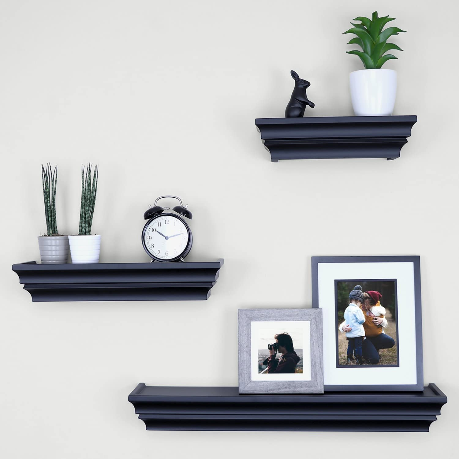 "Ballucci Victorian Wall Ledge and Shelf, 12"", 16"", 24"", Set of 3, Black"