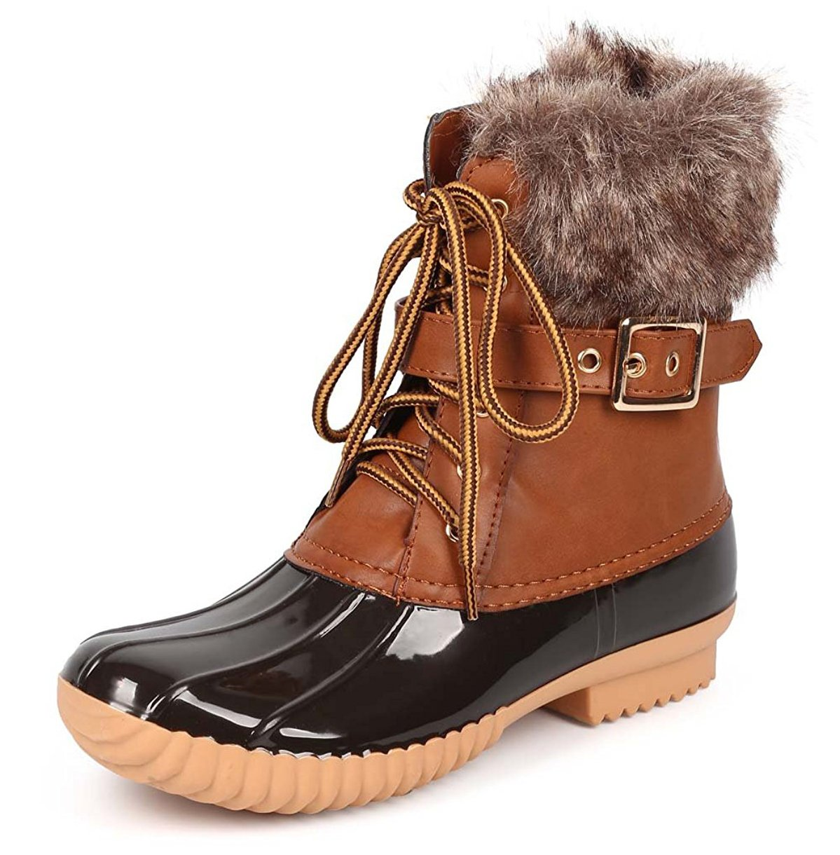 Nature Breeze Duck-01 Women's Chic Lace up Buckled Duck Waterproof Snow Boots B012C2TX06 6.5 B(M) US|Tan