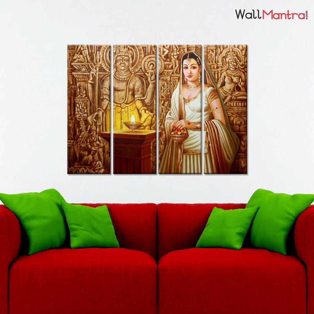 Wallmantra Traditional Indian Princess Wall Painting 4 Pieces Canvas Print Wall Hanging Stretched And Framed On Wood 36 W X 24 H Home Decor For Living Room Bedroom Office Decoration Amazon In Home Kitchen