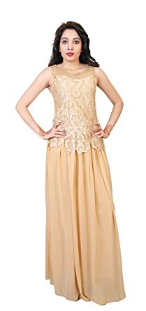 6fa6c4b7553 Carrel Women s A-Line Beige Colour Maxi Dress Gown(AGSPL-3314-RYE-DS ...