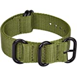 Ritche 18mm 20mm 22mm 24mm Military Ballistic Nylon Strap With Black Heavy Buckle Watch Band (Glossy Buckle)
