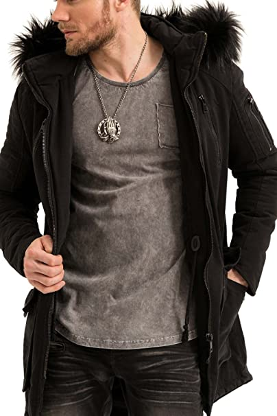 trueprodigy Casual Hombre marca Chaqueta Parka militar ropa retro vintage rock vestir moda con capucha deportivo