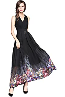Joy EnvyLand Womens V-neck Flower Chiffon Wedding Formal Prom Beach Maxi Dress