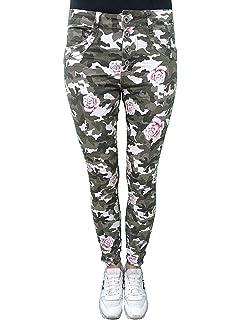 Lexxury Damen Jeans Hose Camouflage trendige Jeanshose Hose