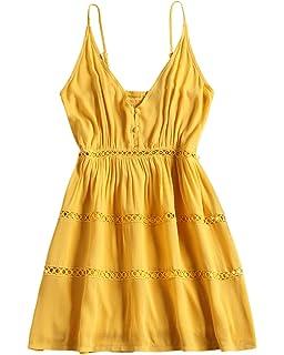 6e9e2600a25 ZAFUL Women s Sleeveless V-Neck Mini Dress Hollow Out A Line Spaghetti  Strap Warp Dress