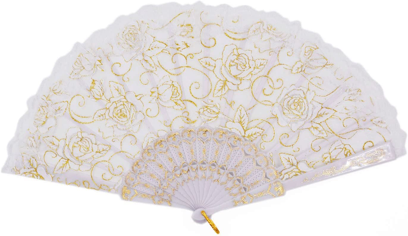 Amajiji Folding Hand Fans,Fashion Elegant Flower Rose Lace Chinese/Japanese Folding Fan (White)
