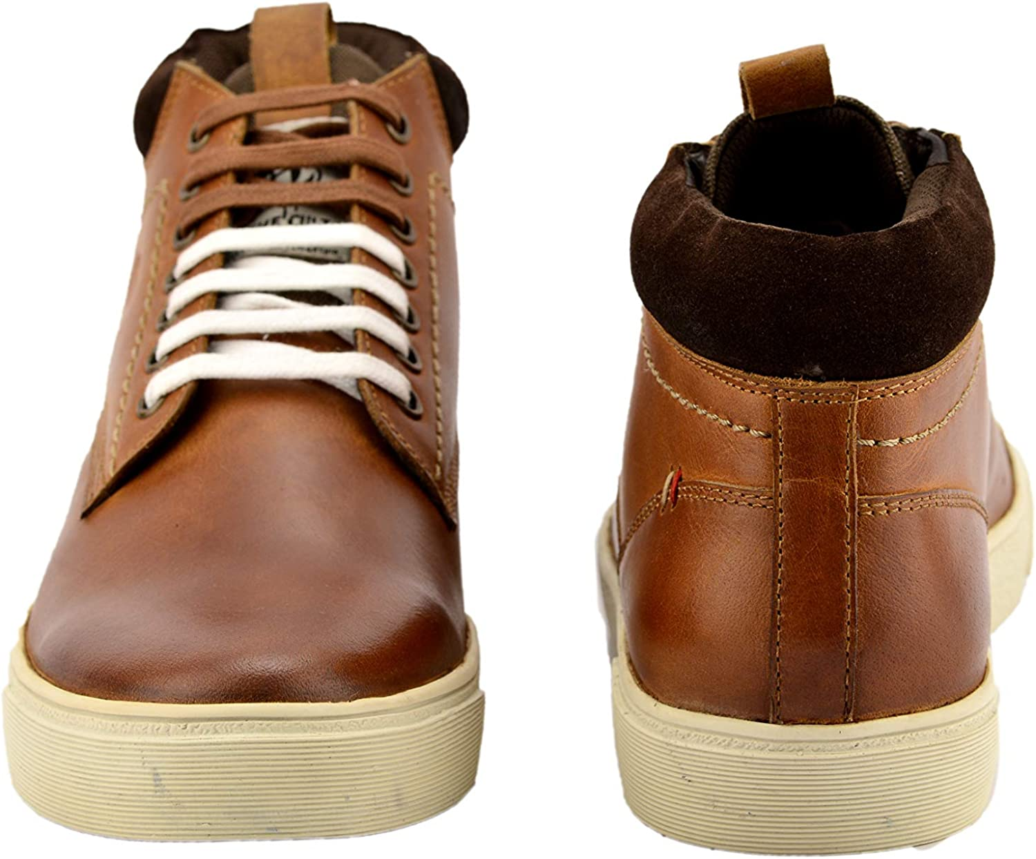 ID Mens Casual Genuine Leather Lace Up High Top Designer Sneakers