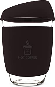 12OZ Reusable Coffee Cup with Leak Proof Lid and Non-Slip Sleeve, Dishwasher and Microwave Safe Coffee Mug (Black)