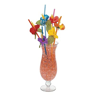36 Colorful FLOWER HIBISCUS Straws/LUAU PARTY DECOR/Tropical Polyester Florals/3 Dozen/TABLE Beverage DECORATIONS: Toys & Games