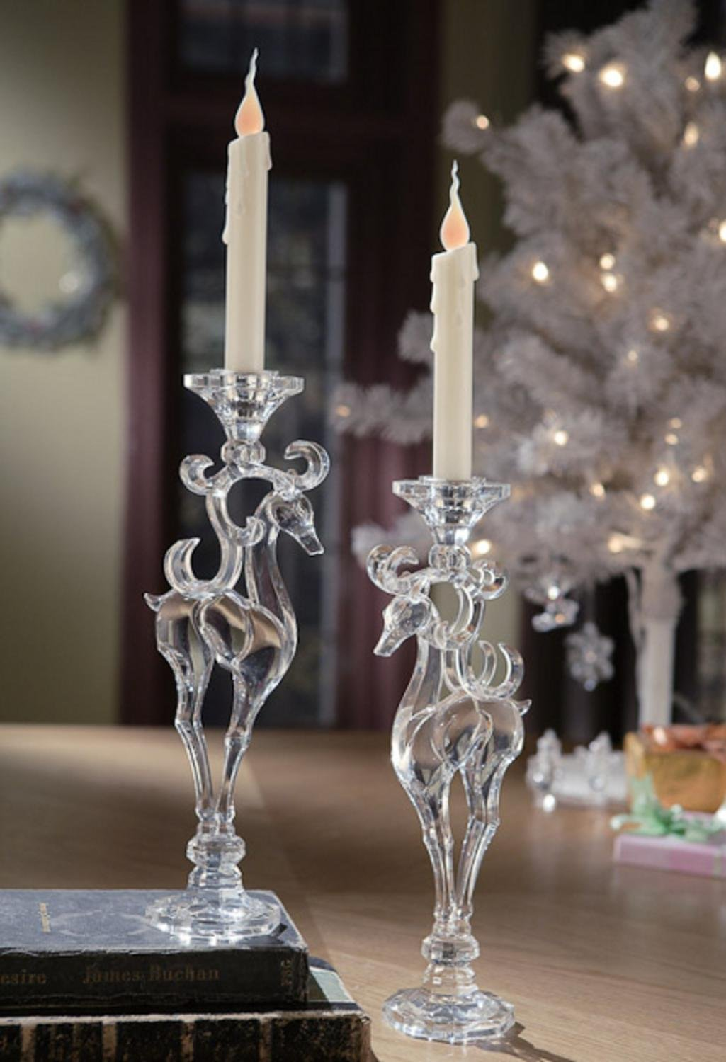 Pack of 4 Icy Crystal Decorative Christmas Deer Taper Candle Holders 12.8''
