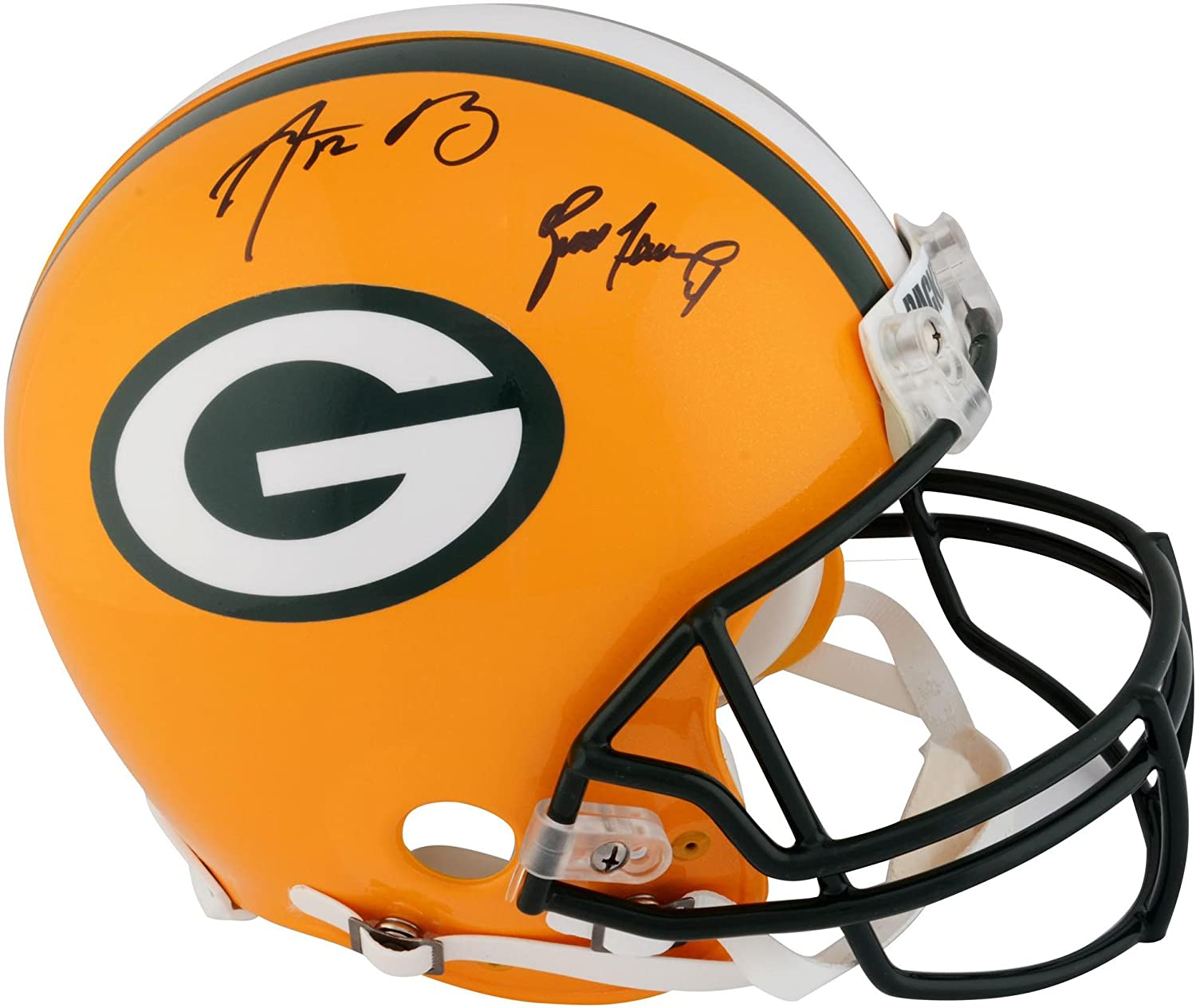 Aaron Rodgers and Brett Favre Green Bay Packers Dual Signed Helmet