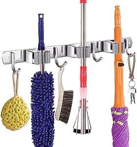AOBIS Mop Broom Holder Wall Mount, Stainless Steel Broom Holder, Broom Organizer for Home, Laundry, Bathroom, Kitchen, Garden, Garage, Utility Tools Organization and Storage Durable(3 Racks 4 Hooks)