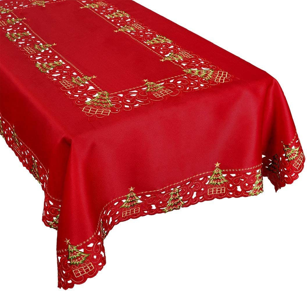 Grelucgo Embroidered Christmas Holiday Holly Tree Tablecloth (57 × 118 Inches Rectangular Tablecloth)