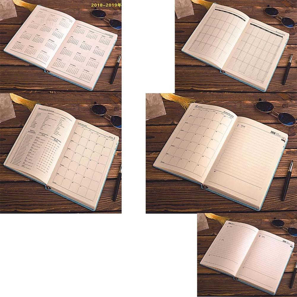2018 Plan Libro Calendario Libro diario de negocios Agenda diaria Libro azul
