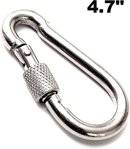 Silver Heavy Duty Carabiner Keychain Screw Locking Carabiner Outdoor Hanging Hook for Hiking Camping Aluminum D Ring Carabiner Clip Lightweight Climbing Carebiner